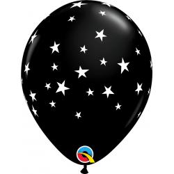 "Baloane latex 11""/28 cm Contempo Stars Onyx Black, Qualatex 92722, set 25 bucati"
