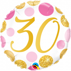 "18"" 30 years, Pink & Gold Dots, Round Foil Balloon, Qualatex 88181"