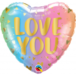 "18"" Love You Pastel Ombre Heart Shaped Foil Balloon, Qualatex 97433"