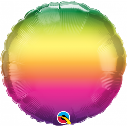 "18"" Vibrant Ombre Round Foil Balloon, Qualatex 97426"