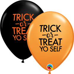 "11"" Trick or Treat Printed Latex Balloons, Qualatex 97357"
