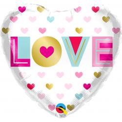 "18"" Love You Metallic Hearts Heart Shaped Foil Balloon, Qualatex 97188"