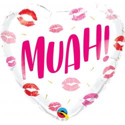 """18"""" Muah! Heart Shaped Foil Balloon, Qualatex 97182"""