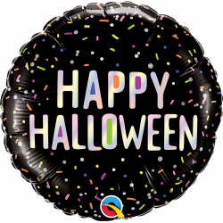 "18"" Halloween Sprinkles Round Foil Balloon, Qualatex 89762"
