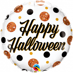 "18"" Halloween Sparkly Dots Round Foil Balloon, Qualatex 89806"