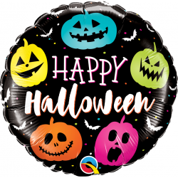 "18"" Halloween Jack Faces Round Foil Balloon, Qualatex 89822"