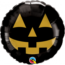 "18"" Halloween Jack Face Round Foil Balloon, Qualatex 89832"