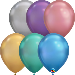 "11"" Assorted Chrome Latex Balloons, Qualatex 99694"