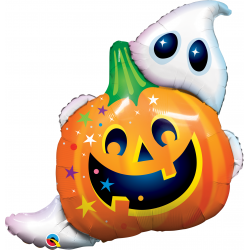 "33"" Halloween Jack n' Ghost Shape Foil Balloon, Qualatex 89964"