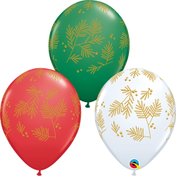 "11"" Contemporary Evergreen Printed Latex Balloons, Qualatex 97334"