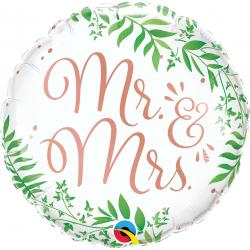 "18"" Mr. & Mrs. Elegant Greenery Round Foil Balloon, Qualatex 10402"