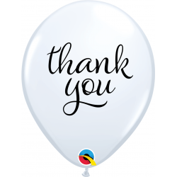"11"" Round Latex Balloons White Thank You, Qualatex 10644, pack of 25 pcs"