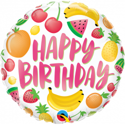 "18"" Happy Birthday Fruits Round Foil Balloon, Qualatex 10264"