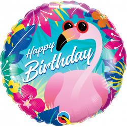"18"" Tropical Flamingo Happy Birthday Round Foil Balloon, Qualatex 10220"