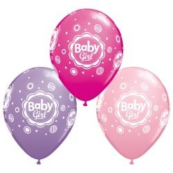 Baby Girl Dots Latex Balloons, Qualatex 18507, set of 25 balloons