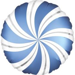 Balon Folie 45 cm Acadea Alb cu Albastru Irizat, Amscan A40279