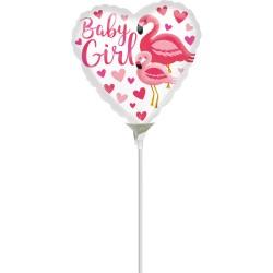"Balon Mini-Folie Baby Girl Flamingo - 9""/23cm, Anagram 39648"