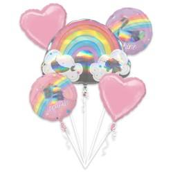 Buchet Baloane Magical Rainbow, Amscan 39749, set 5 bucati
