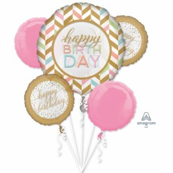Buchet Baloane Happy Birthday Pastel Confetti, Amscan 37180, set 5 bucati