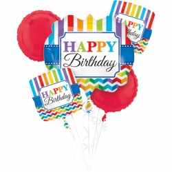 Buchet Baloane Bright Birthday, Amscan 32105, set 5 bucati