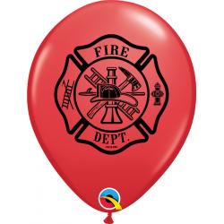 "11"" Round Balloons Fire Dept., Qualatex 86598"