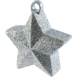 Greutate Stea Argintie Glitter pentru baloane cu heliu - 170 g, Amscan 114550.18