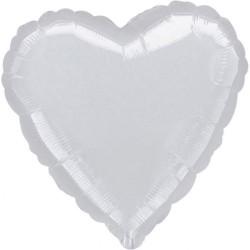 Metallic Silver Heart Foil Balloon - 45 cm, Qualatex 10576, 1 piece
