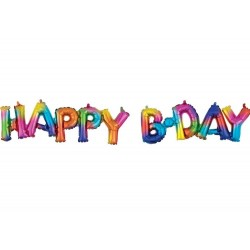 Pachet baloane folie Happy Birthday multicolor - 76 x 48 cm, Amscan 39182