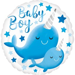 Standard HX Narwhal Baby Boy Foil Balloon, Radar 39634