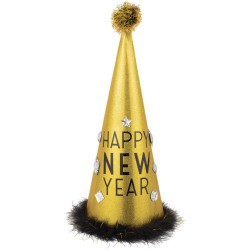 """Cone Hat with Tinsel """"Happy New Year"""", Amscan 251054"""
