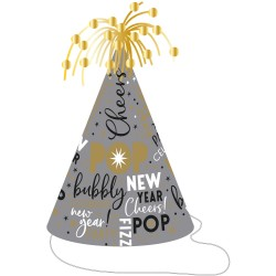 Coif Silver/Gold cu beteala - Happy New Year, 23.5 cm, Amscan 250986