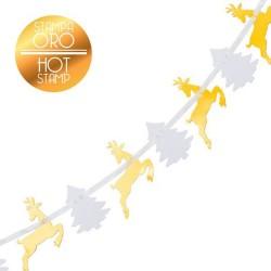 Banner pentru Craciun cu reni aurii si braduti albi - 3 m, Radar 45589