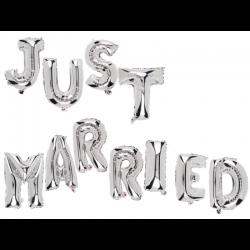 Pachet baloane folie Just Married - 40 cm, Radar 62/0819, set 11 buc