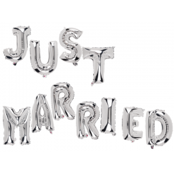Silver coloured foil balloon set Just Married- 40 cm, Radar 62/0819