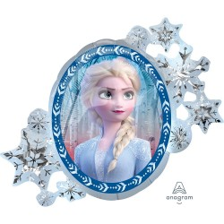 Frozen Ice Princess Anna Elsa Super Shape Jumbo Metallic Foil Balloon, Amscan, 63x78 cm, 32915