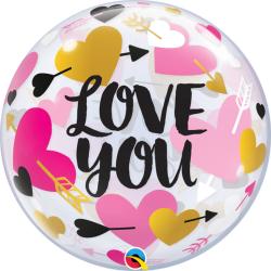 Bubble 22''/56 cm - Love You Hearts & Arrows, Qualatex 78457