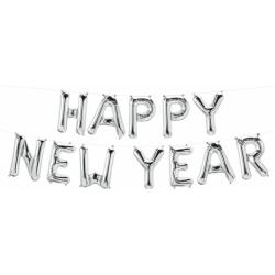 Pachet baloane folie Happy New Year - 16''/41 cm, Argintiu, Qualatex 59806