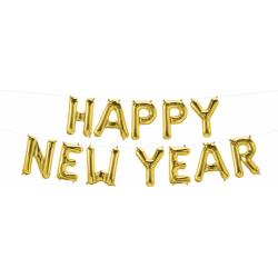 Pachet baloane folie Happy New Year - 16''/41 cm, Auriu, Qualatex 59796, set 12 buc
