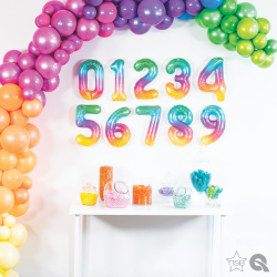 """16""""/41 cm Jelly Ombre Number Shaped Foil Balloons, Qualatex, 1 piece"""