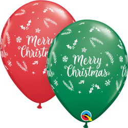 Christmas Evergreen Latex Balloons, Qualatex 97348, pack of 25 pieces