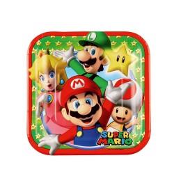 Farfurii carton Super Mario pentru petrecere copii, Amscan 9901536,Set 8 buc