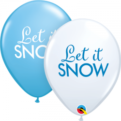 Baloane latex 11'' - Let it Snow, Qualatex 97346, set 25 buc