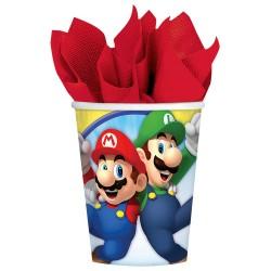 Pahare carton Super Mario pentru petrecere - 250 ml, Amscan 9901537, Set 8 buc