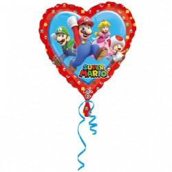 "Standard ""Mario - Love"" Foil Balloon Heart, 45 cm, Amscan 34303"