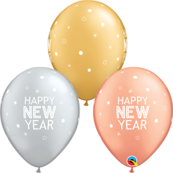 New Year Sparkle & Dot Latex Balloons, Qualatex 97326, pack of 25 pieces
