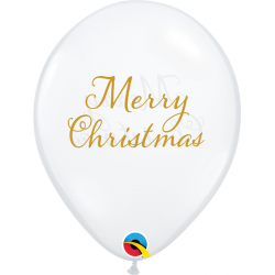 Baloane Latex 11''/28 cm - Merry Christmas, Qualatex 97322, set 25 buc