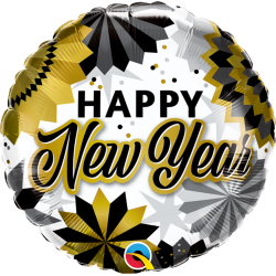 New Year Black & Gold Fans Foil Balloon, Qualatex 89858