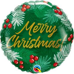 Christmas Greens & Berries Foil Balloon, Qualatex 89853, 1 piece