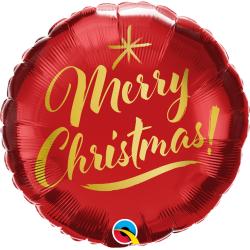 Christmas Gold Script Red Foil Balloon, Qualatex 89850, 1 piece