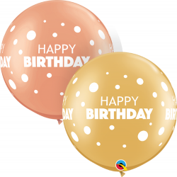 Baloane Latex Jumbo 30''/77 cm - Happy Birthday Dots, Qualatex 13247, set 2 buc
